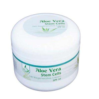 The natural facial cream 24 h with stem cells of Aloe Vera regenerates the skin tissues....